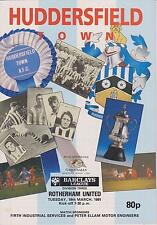 Huddersfield Town V Rotherham United partido de Liga 90-91