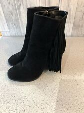 """Hotsoles Black Suede Fringed Ankle Boots, 4"""" Heel Uk8/41"""
