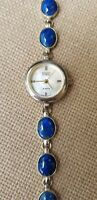 BADAVICI Solid .925 Sterling Silver Mother of Pearl Ladies Lapis Dress Watch