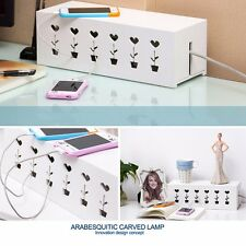 Home Office Carved Cable Storage Management Box Case Tidy Wire Organizer UK SHIP