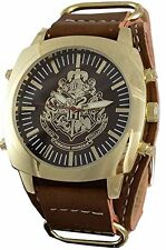 Harry Potter Hogwarts Leather Watch with Gold Stainless Steel Face HP5043