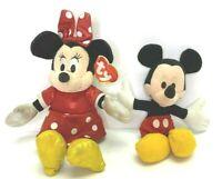 TY Sparkle Minnie 2013 plus Applause Mickey Bean Bag Plush Stuffed Dolls Bundle