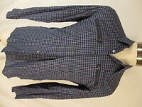 John Varvatos Mens Blue Check Long Sleeve Cotton Shirt M