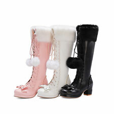 Goth Lolita Women Shoes Sweet Cute Bows Side Zip Lace Up Faux Leather High Boots