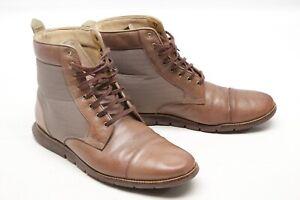 Cole Haan Grand OS Mens Boots 11 M Brown Leather Beige Grandsprint C13629 Cap