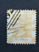 HONG KONG 1877: 16c Queen Victoria, Yellow, used, Sg 22