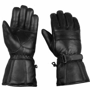 Men  Sheep Leather Motorcycle Thinsulate Gauntlet Gloves -20 ℉ Winter protection