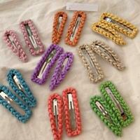 Lovely Headdress Wool Hairpin Color Wave Twist Bb Clip Retro Wild Bangs Clip