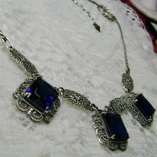 *Sapphire* Victorian Festoon Sterling Silver Filigree Necklace (Made To Order)
