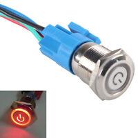 19mm 12V Auto Leistung Schalter Drucktaster Taster Beleuchtet Rot Steckdose