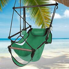 Indoor/Outdoor Hanging Hammock Chair Air/Sky Swing Chair Solid Wood 250lbs Green