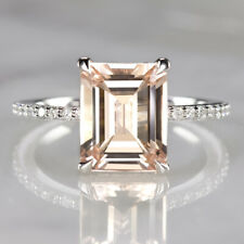 2.5ct EMERALD CUT MORGANITE .42c DIAMOND ENGAGEMENT RING WHITE GOLD PAVE CLASSIC