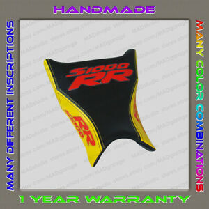 CUSTOM Design Front Seat Cover BMW S1000RR 09-11 black-yellow+red+Glow-effect