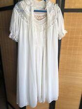 Vintage Van Raalte Myth White Chiffon Nylon Peignoir Set Nightgown Robe Bust 36