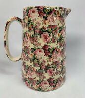 Crown B Burslem Staffordshire England Floral Ceramic Pitcher