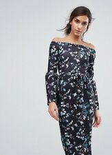 Silver Bloom Bardot Midi Dress In Ditsy Floral W/Exaggerated Sleeve Midi