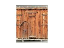 Shower Curtain – Rustic Wall and Wheel