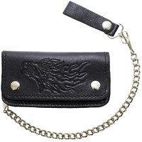 Men Black Leather Motorcycle Wallet with Chrome Chain Biker Trucker ID Holder