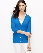 Ann Taylor - SMALL Daphne Blue Tab Sleeve Linen Blend Summer Cardigan $80 (D18)
