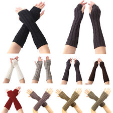 Women Protection Arm Warmer Long Fingerless Stretchy Knit Gloves Sleeves Mittens