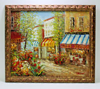 Paris Bistro Streetscene 20 x 24 Art Oil Painting on Canvas w/Wooden Frame