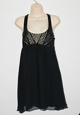 Lipsy Black Embellished Strappy Cut Out Back Party Mini Dress Size 10
