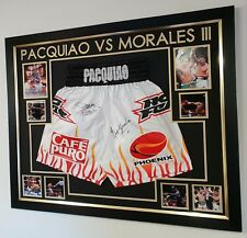 *** Rare Manny Pacquiao and Eric Morales Signed boxing SHORTS TRUNKS Display ***