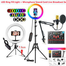 """12""""RGB Dimmable LED Ring Light Phone Tiktok Twitch Sound Card Live Broadcast Set"""
