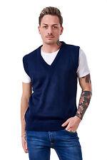 Men's Plain Knitted V Neck Classic Sleeveless Cardigans Tops Jumpers Size S-5xl XXXL Navy 100 Acrylic