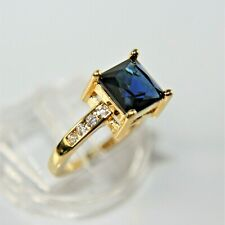 Exquisiter Damen Herren Ring Gold 10K GP (375) gest Saphir blau Gr. 63 Ø20,0mm