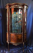 VERNIS MARTIN Curio Cabinet Vitrine- Wood, Curved Glass, & Ormolu Mounts, c.1895