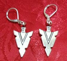 Tibet silver arrow head earrings with 925 stamped lever backs