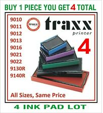 Traxx Rubber Stamp Replacement 4 Ink pads RED BLUE BLACK GREEN PURPLE 4 PAD LOT