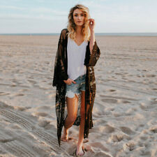 New listing Womens Summer Casual Bohemian Beach Long Lace Kimono Coat Oversized Cover Up