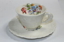 Pope Gosser China Flowers Floral Tea Cup & Saucer Set USA