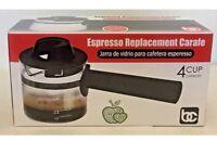 Bene Casa 4-Cup Replacement Carafe.Jarra de vidrio para cafetera Espresso.