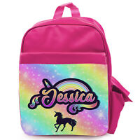 Personalised Girls Backpack UNICORN FACE School Holographic Silver Bag KS210