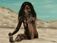 ORIGINAL Signed Handmade Oil painting on canvas. 23x17''. figure female beach