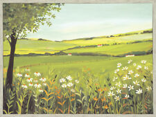 Janet Bell - Summer Landscape 80 x 60cm framed canvas with hand painted detail