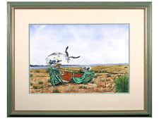 Beach / Seagulls / Boat / Coastal / Sea - Original Signed Watercolour / Gouache