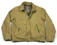 American Eagle Canvas Sherpa Faux Fur Lined Military Bomber Jacket Large Mens