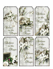Winter White Christmas Tag Style Glossy Finish Card Making Topper - Crafts