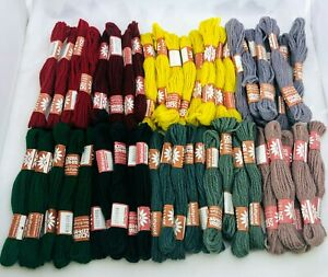 Lot of 48 Nostra Zephyr Tapestry Needlepoint Wool Skeins Denmark 9 Colors