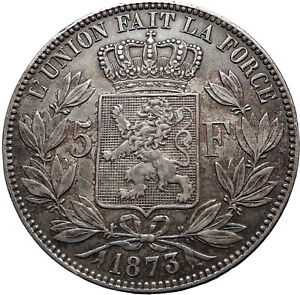 1873 BELGIUM Antique Silver 5 Francs Coin of King LEOPOLD II w LION i73734