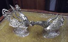 paire salière poivrière cristal & argent massif Pair Hen & Cock poule coq silver
