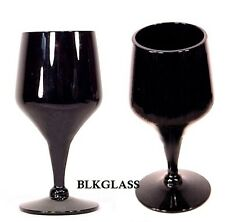 2  Ebony Jet  Black Glass Cordials by Morgantown Fostoria Years - Vision Line