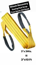 """3""""x10' 3Mts Winch Recovery Towing Pull Strap Tree Saver Off Road Tow Rope Chain"""