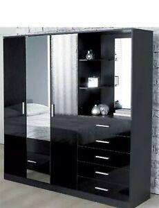 Carleton Mirrored High Gloss Black Wardrobe Combi Unit Spacious Stylish Elegant