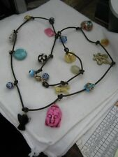 Knotted Leather Necklace w/ 19 Different Charms, Hard Stones, PINK BUDDHA, Angel
