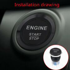 1× 12V White LED Car Engine Start Switch Stop Push Button Switch Car Accessories